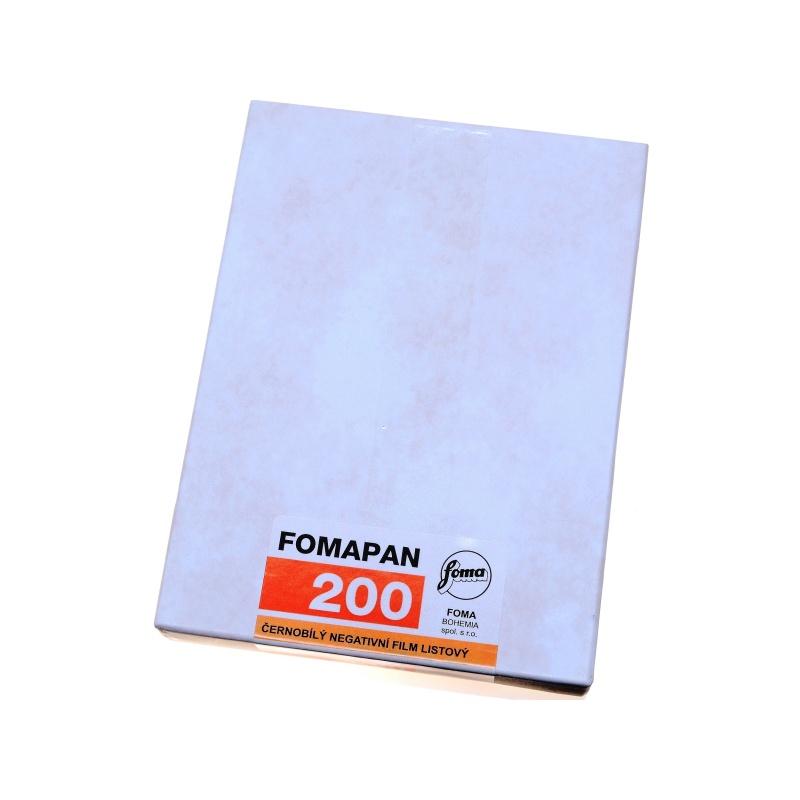 """Foma Fomapan 200 4x5"""" 10,2x12,7 cm. 25x błona cięta"""